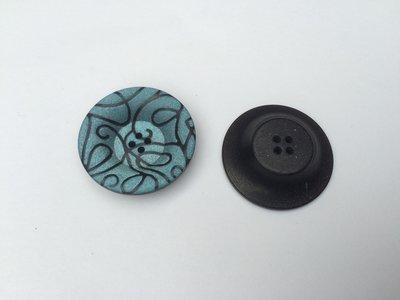 blauw/groene knoop  33 mm