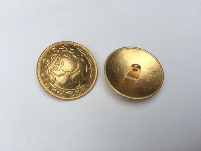goudkleurige metalen knoop  27 mm